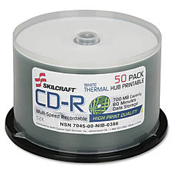 SKILCRAFT Thermal Printable 52x CD R