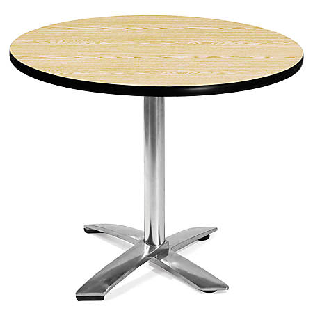 OFM Multipurpose Folding Table Round 36 W X D Oak By