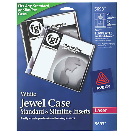 Avery laser cddvd jewel case inserts pack of 20 by office for Avery dvd case template