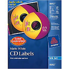 Avery Inkjet CDDVD Labels Pack Of