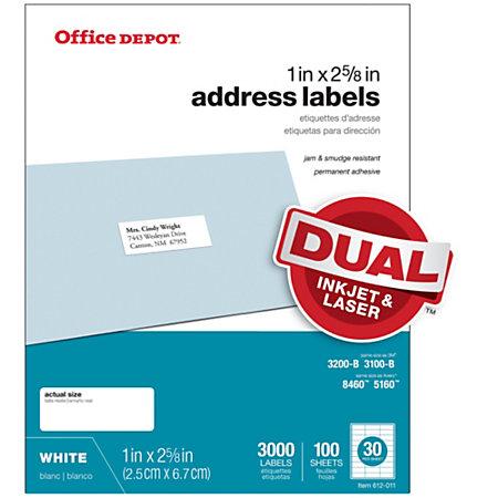 Office depot brand white inkjetlaser address labels 1 x 2 for Office depot address label template
