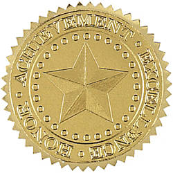 Great Papers Foil Certificate Seals 1 34 Gold Star Pack Of