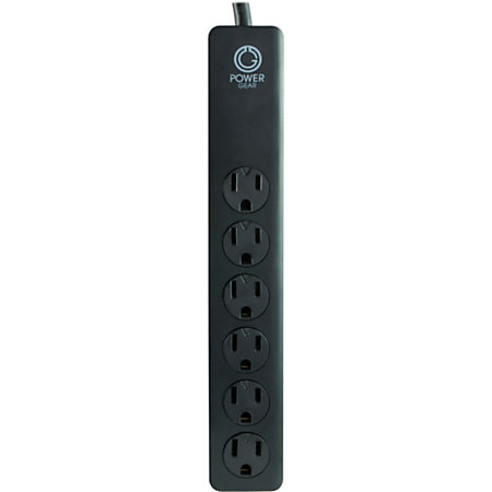 powergear 6 outlet surge protector 4 cord black by office depot officemax. Black Bedroom Furniture Sets. Home Design Ideas