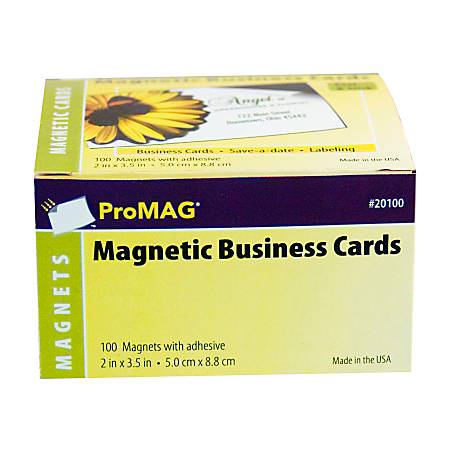 Promag magnetic business cards 2 x 3 12 pack of 100 by for Business cards at office depot