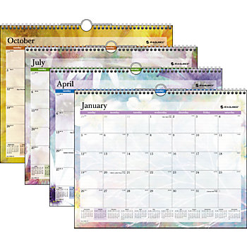 See your tasks and appointments by month on this wiro bound OfficeMax Wall Calendar. Features include the previous month and two months ahead reference calendars for easy hassle-free planning.