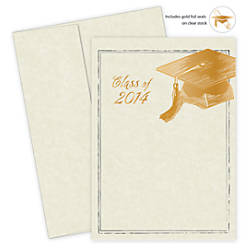 Great papers graduation invitation kit 5 12 x 7 34 foil for Wedding invitations kits office depot