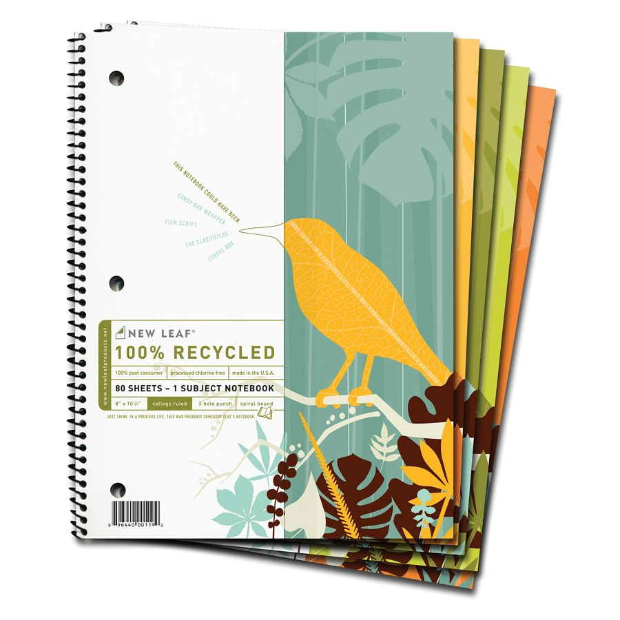 Office depot services register new product - New Leaf Think Smile 100percent Recycled Notebook 8 X 10 12 1 Subject College Ruled 80 Sheets Assorted Colors No Color Choice By Office Depot Officemax