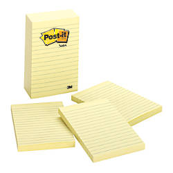 "Post-it® 4"" x 6"" Lined Notes, Canary Yellow, 100 Sheets Per Pad, Pack Of 5 Pads"
