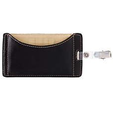 FORAY Faux Leather Badge Holder Black