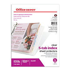 Office Depot Brand Tabbed Sheet Protectors