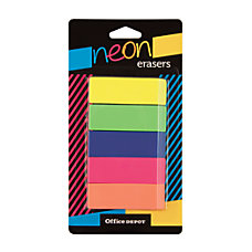 Office Depot Brand Neon Pencil Erasers