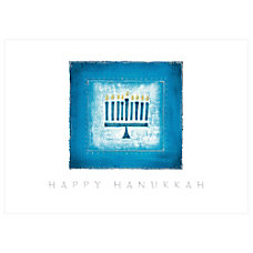 Sample Holiday Card Menorah in Blue