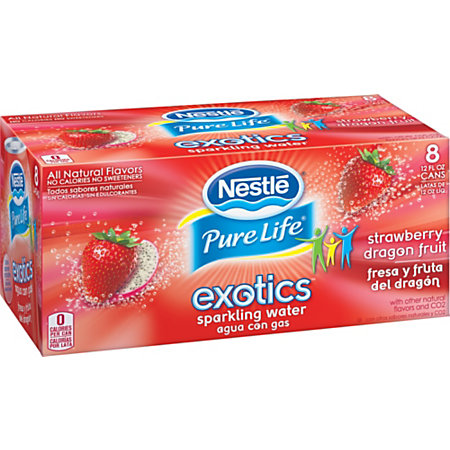Nestl Waters Pure Life Exotics Sparkling Water Strawberry Dragonfruit ...