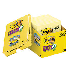 """Post-it® 4"""" x 4"""" Super Sticky Lined Notes With Storage Case, Canary Yellow, 90 Sheets Per Pad, Pack Of 12 Pads"""