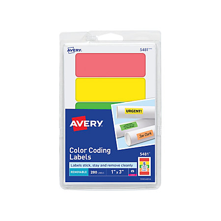 avery removable rectangular color coding labels 1 x 3 assorted - Avery Colored Labels