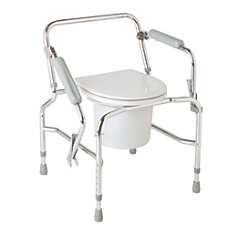 Medline Steel Drop Arm Commode Chrome