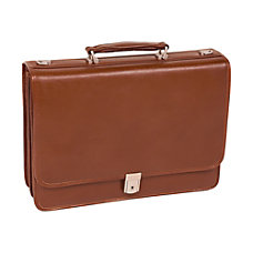 McKlein Lexington Leather Expandable Briefcase Brown