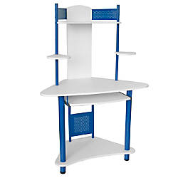 corner computer desk with hutch blue by office depot officemax