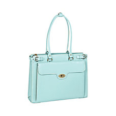 McKlein Winnetka Italian Leather Briefcase Aqua