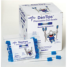 Medline DenTips Oral Swabsticks Untreated Blue