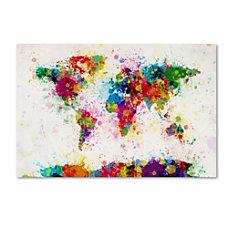 Trademark Global Paint Splashes World Map