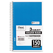 Mead 3 Subject Wirebound College Ruled