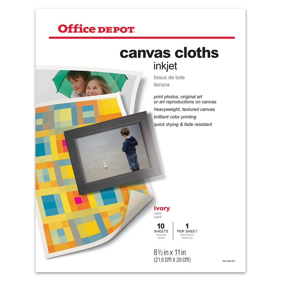 Color printing office depot - Office Depot Brand Inkjet Canvas Cloths 8 12 X 11 Pack Of 10 By Office Depot Officemax