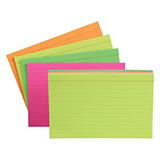 Oxford Glow Index Cards Assorted Colors