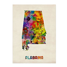 Trademark Fine Art Alabama Map Canvas