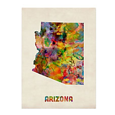 Trademark Fine Art Arizona Map Canvas
