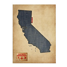 Trademark Fine Art California Map Denim