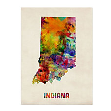 Trademark Fine Art Indiana Map Canvas