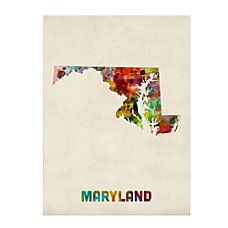 Trademark Fine Art Maryland Map Canvas