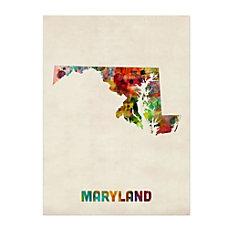 Trademark Fine Art Maryland Map Canvas