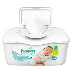 Pampers Sensitive Baby Wipes Unscented 64