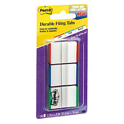 "Post-it® Durable Filing Tabs, 1"" x 1 1/2"", Blue/Green/Red Color Bars, 22 Flags Per Pad, Pack Of 3 Pads"
