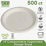 Eco Products Sugarcane Plates 10 Diameter