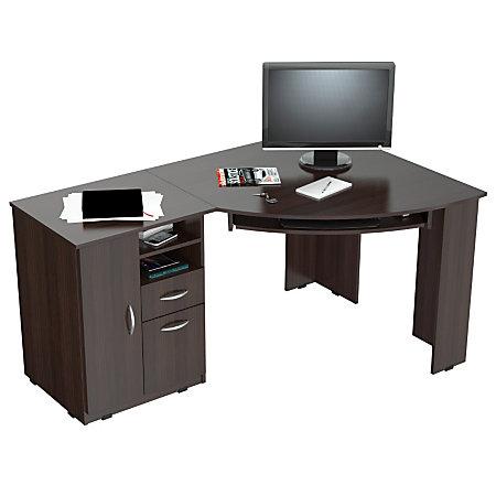 inval corner computer desk espresso wengue by office depot officemax