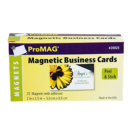 Promag adhesive business card magnets pack of 25 by office for Business cards at office depot