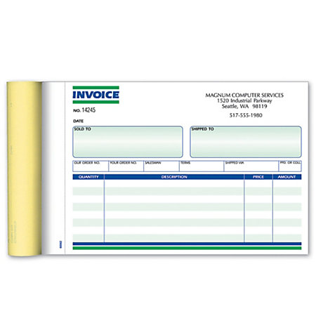 Invoice books ruled 2 part 7 34 x 5 12 pack of 10 books by for Invoice book office depot