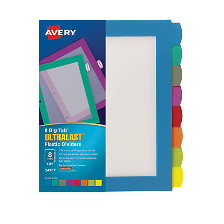 avery big tab ultralast plastic dividers 8 tab by office depot officemax. Black Bedroom Furniture Sets. Home Design Ideas