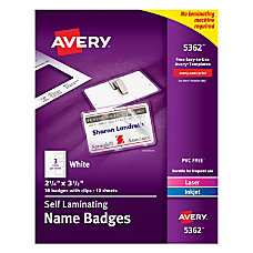 Avery Laminated ID Badges Cards Clips