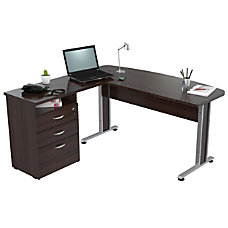 Inval Uffici Curved Top Desk Espresso