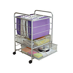 Mesh rolling file cart with drawers silver by office depot amp officemax