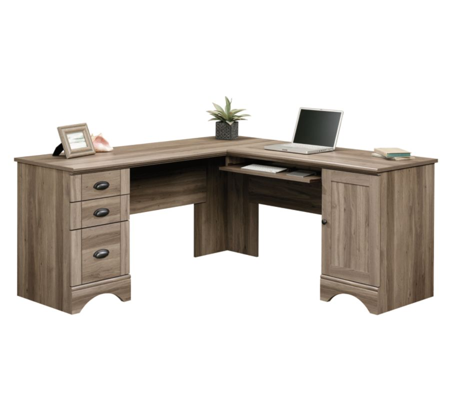 sauder harbor view corner computer desk salt oakoffice depot