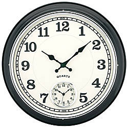 Tempus 16 dual time zone metal wall clock black on popscreen for Dual time wall clock