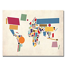 Trademark Global Abstract Shapes World Map