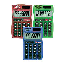 Victor Dual Power Pocket Calculators Pack
