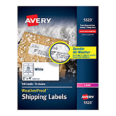 Avery White Weatherproof Laser Shipping Labels