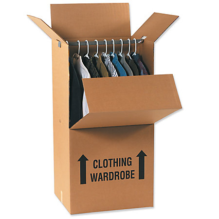 Office depot brand wardrobe moving boxes 24 x 20 x 46 pack for Office depot shirt printing